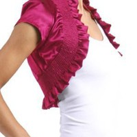 Womens Cropped Sleeves Ruffle Stretch Shrug Bolero Casual Formal Jacket
