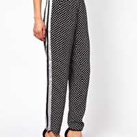 ASOS Trousers in Spot Print with Contrast Panel at asos.com