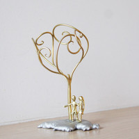 Boy girl sculpture, metal sculpture of a couple under a tree, handmade brass aluminum small sculpture