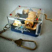 Music Box Keychain Necklace Option by TallPoppiesShop on Etsy