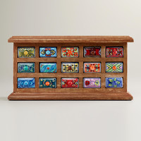 Rectangular Ceramic Drawer Wood Chest - World Market