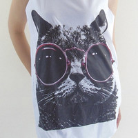 BIG SIZE..Cat Red Glasses Shirt -- Cat Shirt Animal Shirt Women Shirt Tank Top Women T-Shirt Singlet Tunic Vest Women Sleeveless Size L