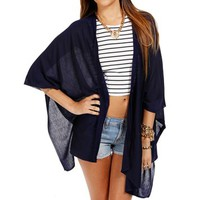 Navy One Button Poncho