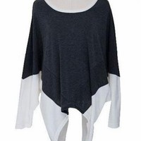 Gray & White Colorblock Long Sleeve Top