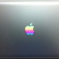 Retro 1980s Rainbow Apple MacBook Vinyl Decal Sticker