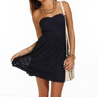 Navy Strapless Lace Dress