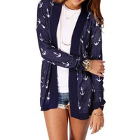Pre-Order: Navy/White Anchor Print Light Sweater