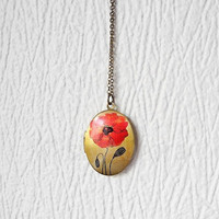 Locket Necklace - Red Poppy Locket Pendant Necklace - Red Flower Locket - Keepsake Necklace