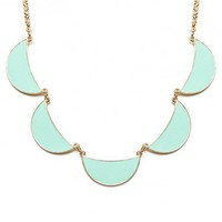 Linked Crescent Necklace in Mint - ShopSosie.com