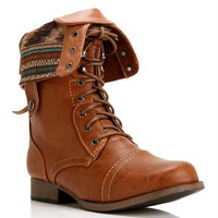 Pre-Order Whisky Lace Up Back Zipper Combat Boots