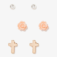 Cross & Rosette Stud Set