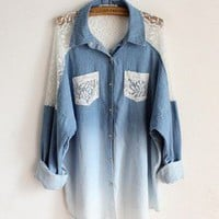 shoppinggirl- fashion shopping mall — [grhjr4180006]Bat sleeve loose lace collar long denim shirts
