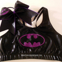 Batty Purple Super Hero Metallic Sports Bra by SparkleBowsCheer