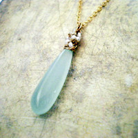 Pale Mint Green Chalcedony Pendant Necklace