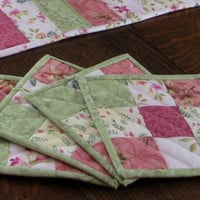 Quilted Mug Rugs, set of 4, in beautiful pink and green floral prints