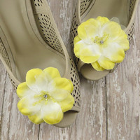 Yellow Wedding Shoe Clips - Flower Shoe Clips - Bridal & Bridesmaid Shoe Accessories