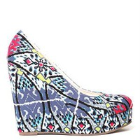 A'GACI Nana 7 Tribal Print Fabric Closed Toe Wedge - Modern Tribe
