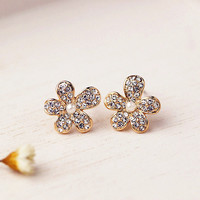 Full CZ Flower Earring 061014