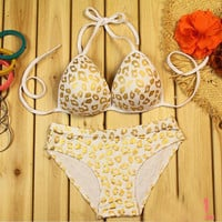 coolstyle — Pure cotton leopard grain bikini underwear bra sets white gold