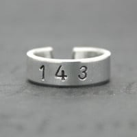 143 I Love You Ring, Aluminum Love Ring, I Love You Jewelry, Lovers Girlfriend Gift, Numerical Love