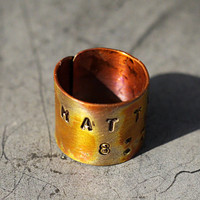 Copper Scripture Ring, Religious Jewelry, Heat Torched, Color Highlights, Inspirational Jewelry, Personalized Copper Cuff Ring