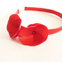 Red satin flower headband with Swarovski