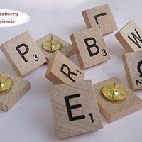 Scrabble Push Pins Set of 10 by debdel on Zibbet