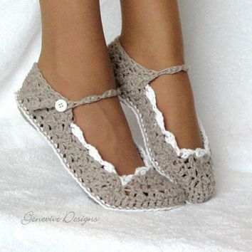 Crochet Slippers Pattern Skinny Flats Sizes in Womens and Kids PDF 21 | Genevive - Craft Supplies on ArtFire
