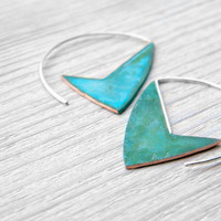 Geometric Verdigris Earrings handmade copper and by alibli