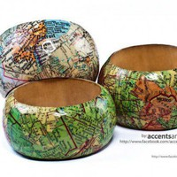 Wood Bangle Decoupaged with Vintage Maps - Large | AccentsandPetals - Jewelry on ArtFire