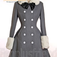 Gothic Lolita Thick Rough Wool Neat Double Breast High Slit Coat*2colors Instant Shipping