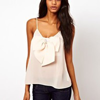 ASOS Cami With Pearl Detail Bow Front at asos.com