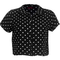 Motel Andy Crop Blouse in Black Polka Dot
