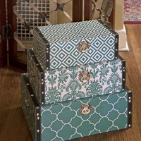 Bold Graphic Storage Boxes - Set of 3 - 4 Colors Available