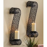 Decorative Black Metal Scrollwork Candle Holder Sconces By Collections Etc