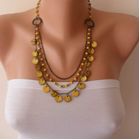 Yellow Necklace with Wooden Beads- Speacial Design