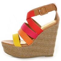 Bamboo Dorothy 06 Red Multi Color Block Platform Wedges - $33.00