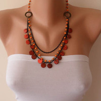 Orange Necklace with Wooden Beads- Speacial Design