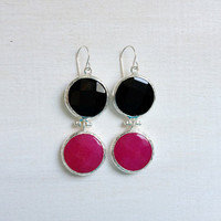 LARGE dangle long  DUAL bright fuchsia pink and black gemstone earringssilver gemstone earrings Israel jewelry