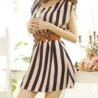 STRIPE STYLE DAY DRESS WITH BELT