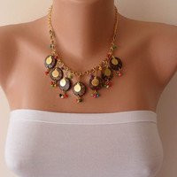 Brown Necklace with Wooden Beads and Colorful Beads - Speacial Design