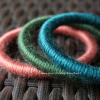 Three Yarn Wrapped Bangle Bracelets - Orange, Dark Green, and Dark Blue