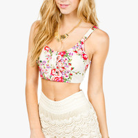Button Front Floral Challis Bra Top