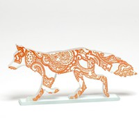 Orange Paisley Fox Glass Sculpture | Luulla