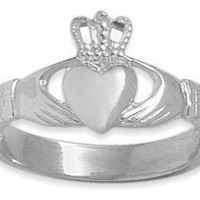 14 Karat White Gold Celtic Claddagh Ring - 7