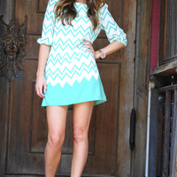 Died And Gone To Heaven Chevron Dress: Mint | Hope's