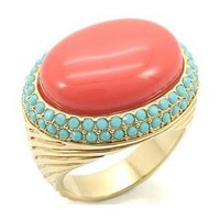 Talullah's 14k Gold Genuine Coral & Turquoise Stone Cocktail Ring - 6