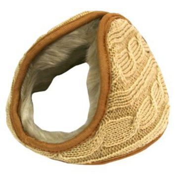 Amazon.com: Tan Beige Cable Knit Faux Fur Lined Wrap Earmuff Band: Clothing