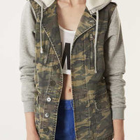 Jersey Sleeve Camo Hooded Jack - Jackets & Coats  - Clothing