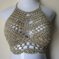 ON SALE halter top, khaki, boho romantic top, gypsy wear, summer top, festival top, cotton yarn